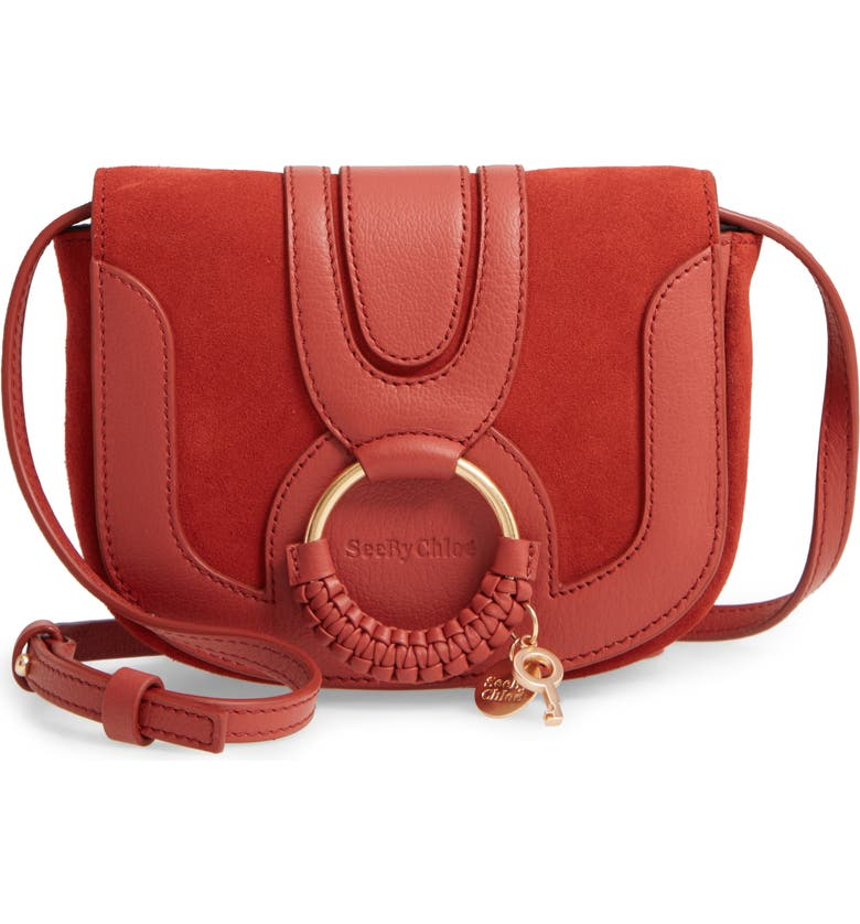 SEE BY CHLOÉ Mini Hana Leather Crossbody Bag, Main, color, FADED RED
