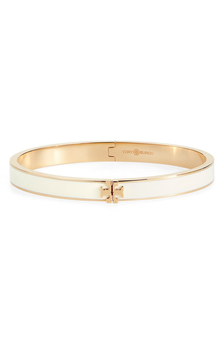 TORY BURCH Kira Enamel Hinge Bracelet, Main, color, TORY GOLD / NEW IVORY
