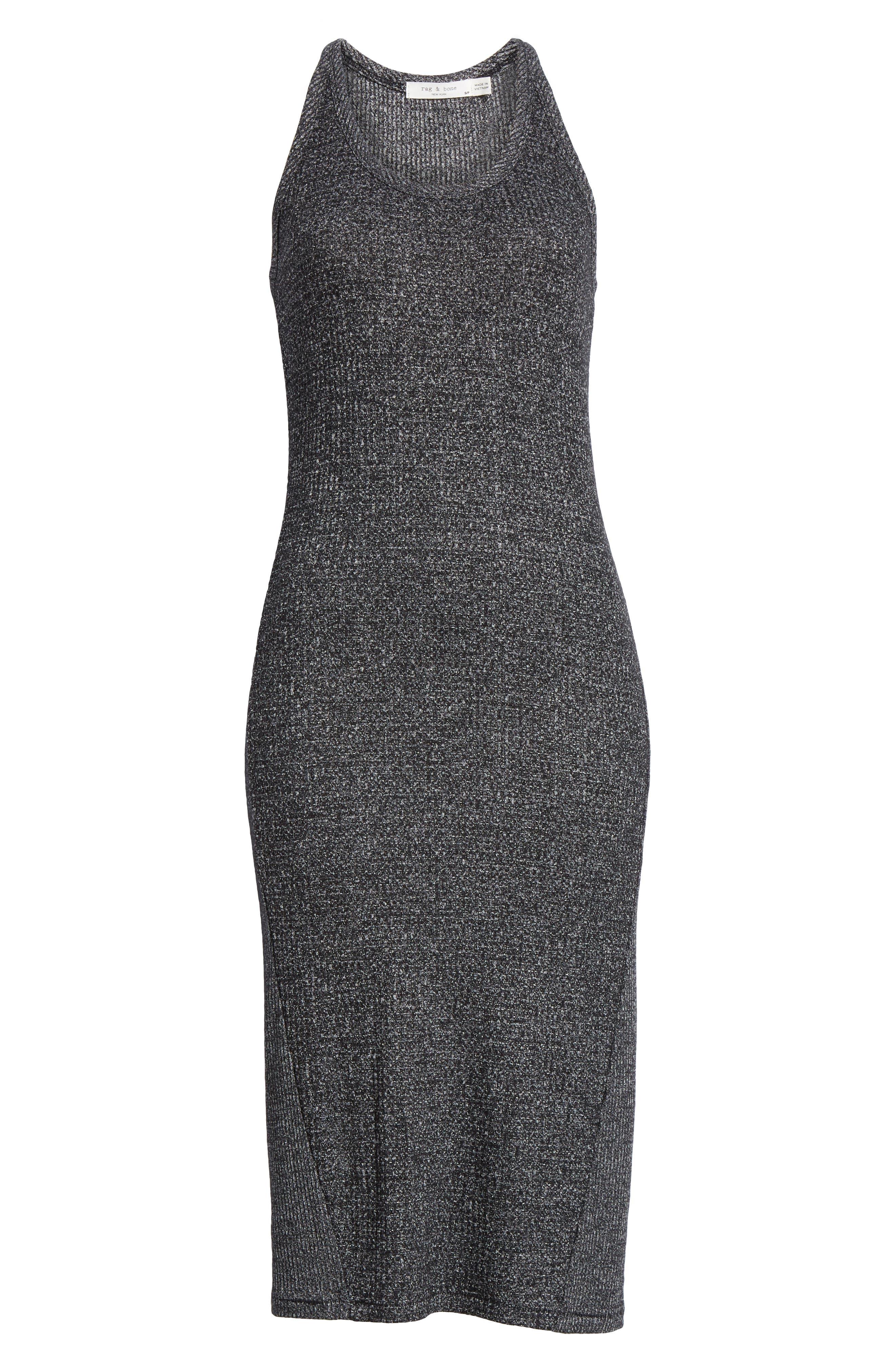,                             Clara Torqued Midi Tank Dress,                             Alternate thumbnail 7, color,                             BLACK HEATHER