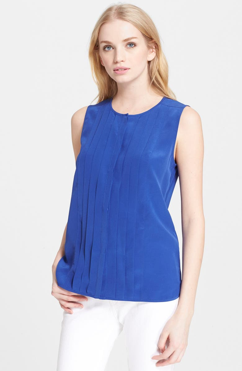KATE SPADE NEW YORK pleated silk top, Main, color, 467