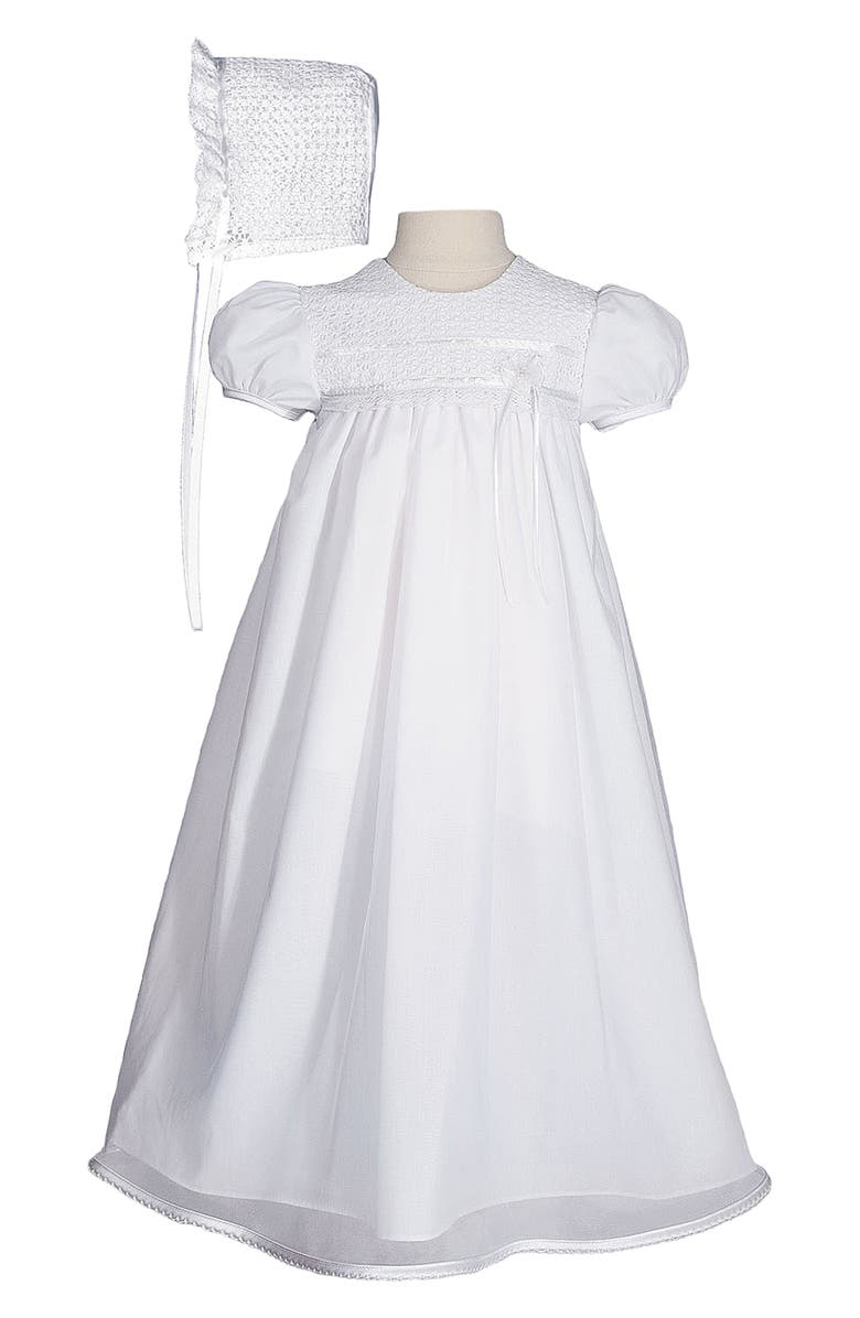 LITTLE THINGS MEAN A LOT Christening Gown & Hat Set, Main, color, WHITE