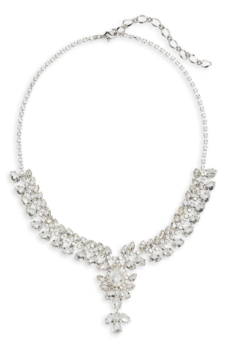 CRISTABELLE Crystal Y-Necklace, Main, color, CRYSTAL/ SILVER