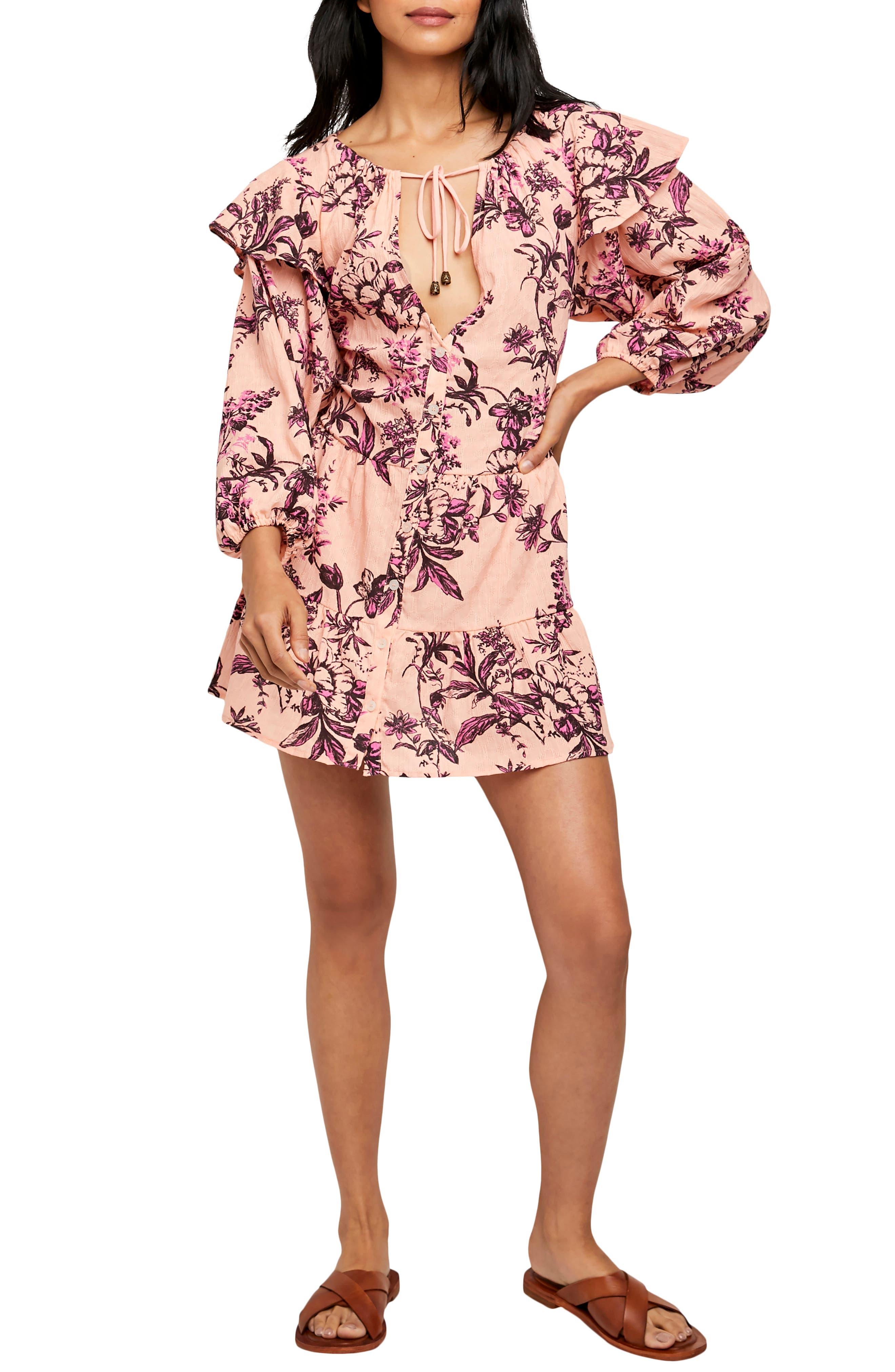 Sunbaked Floral Long Sleeve Swing Minidress