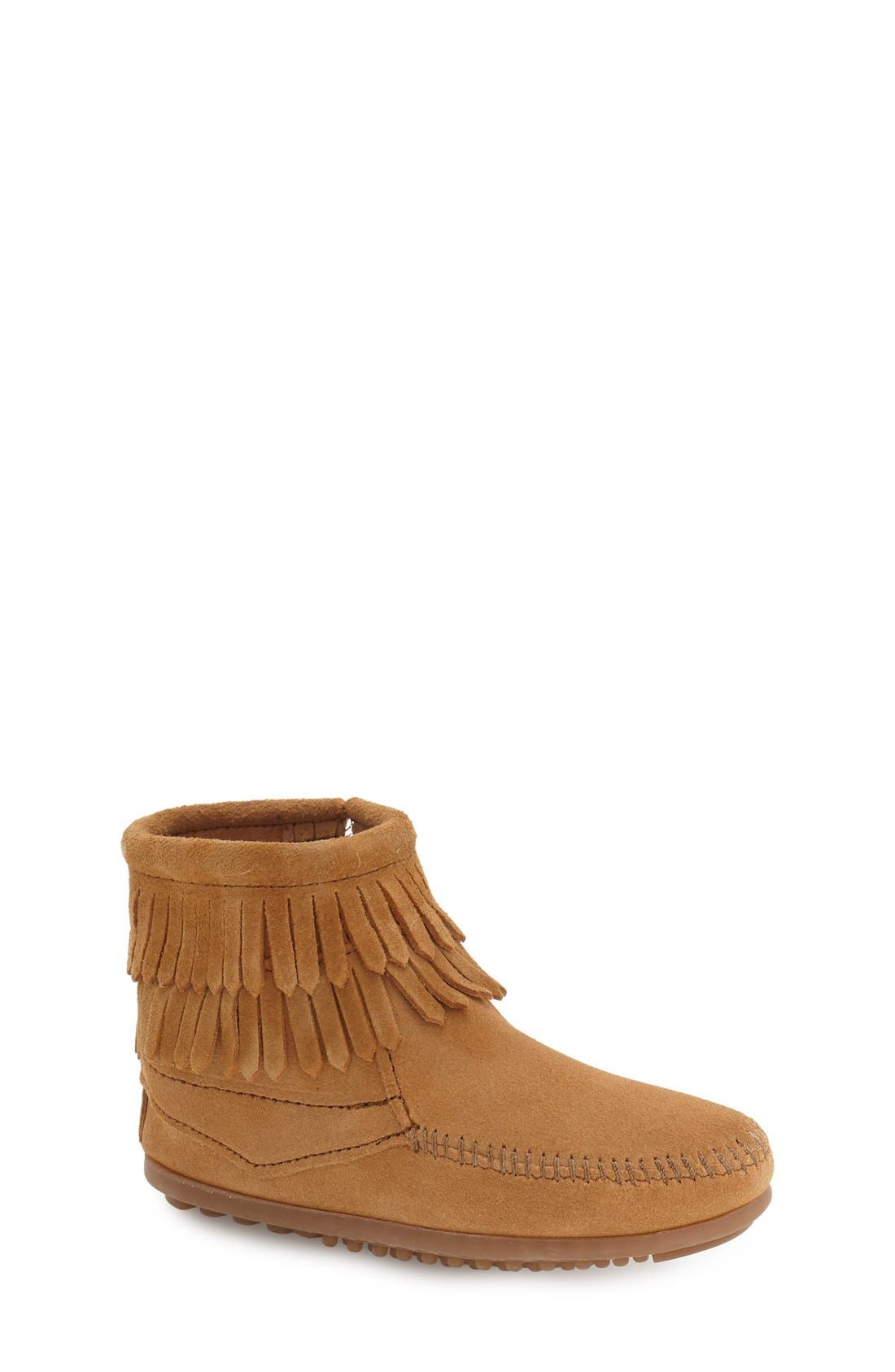 ,                             'Double Fringe' Boot,                             Main thumbnail 1, color,                             TAUPE