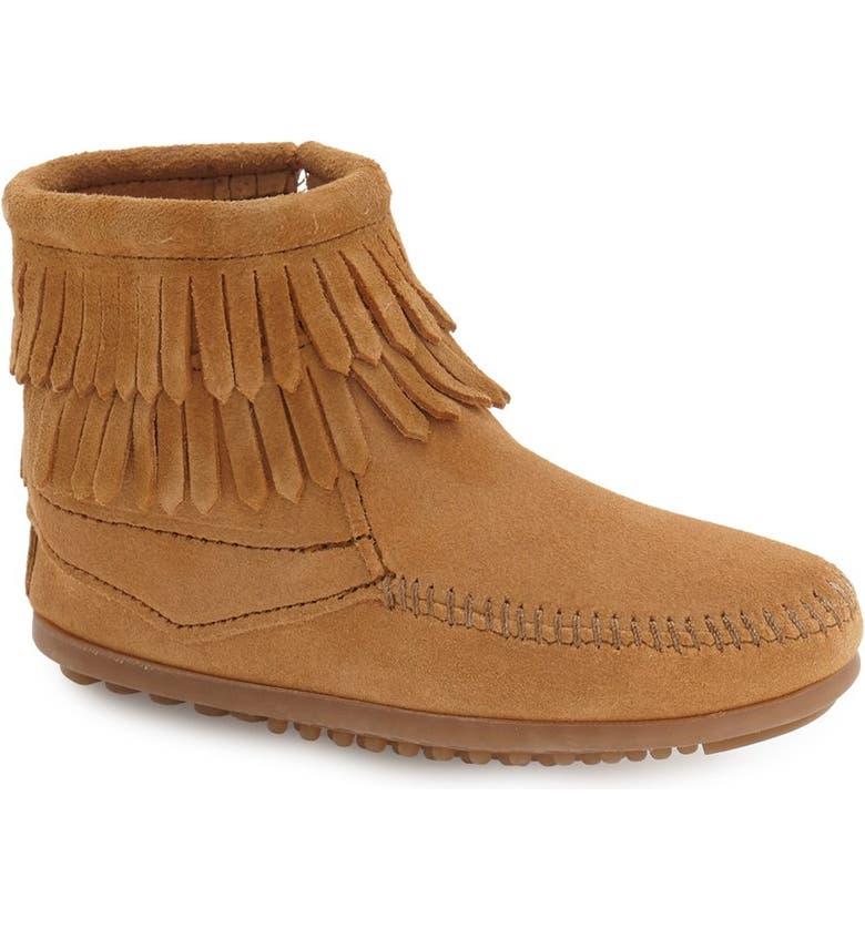 MINNETONKA 'Double Fringe' Boot, Main, color, TAUPE