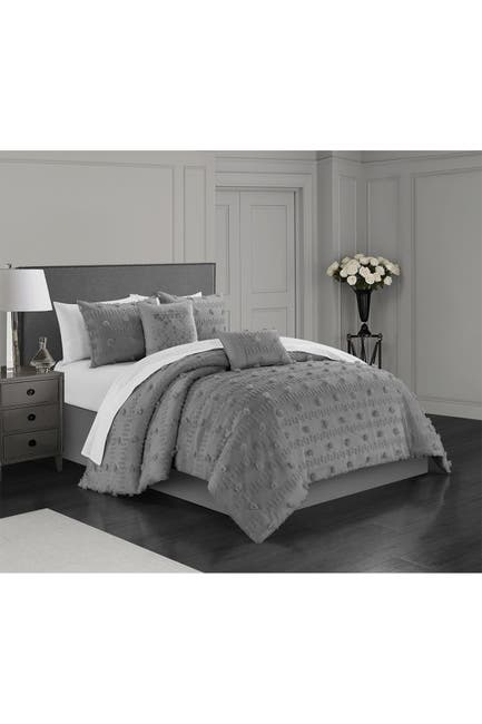 Image of Chic Home Bedding Athisa Jacquard Floral Applique Design Queen Comforter Set - Grey - 5-Piece Set