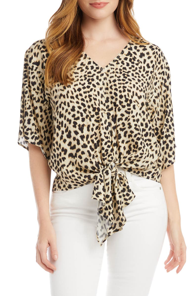 KAREN KANE Leopard Tie Front Top, Main, color, 900