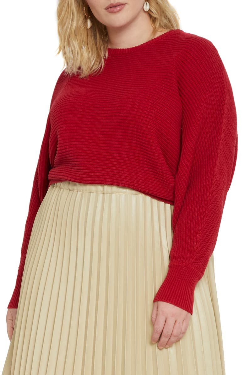ELOQUII Crop Ribbed Cotton Blend Sweater, Main, color, HAUTE RED