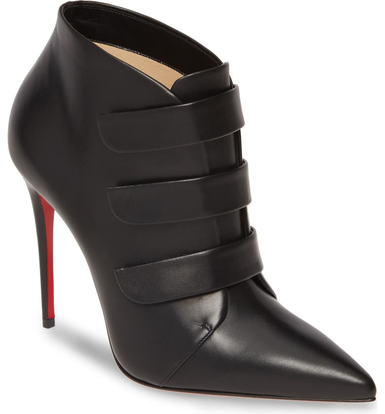 CHRISTIAN LOUBOUTIN Triniboot Stiletto Bootie, Main, color, BLACK