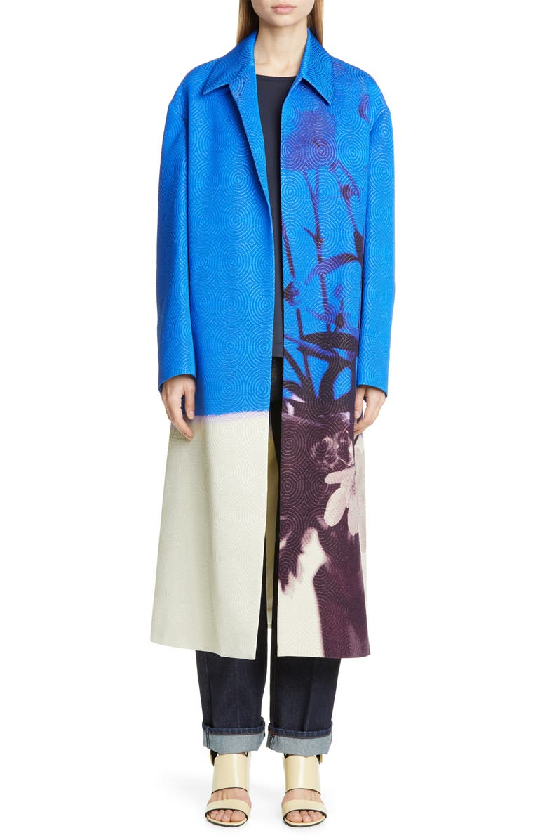 DRIES VAN NOTEN Ruberta Floral Print Jacquard Coat, Main, color, 400