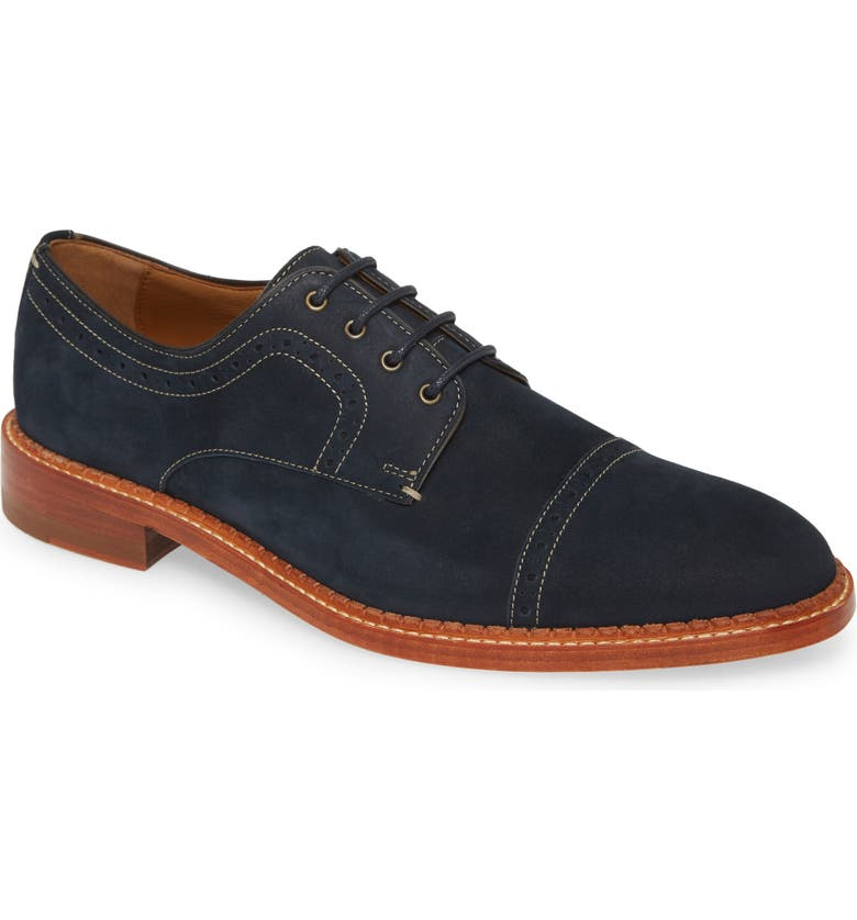 JOHNSTON & MURPHY J&M 1850 Chambliss Cap Toe Derby, Main, color, NAVY