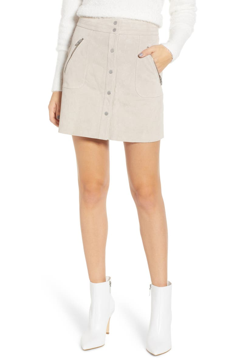 BLANKNYC Snap Front Suede Miniskirt, Main, color, FAWN