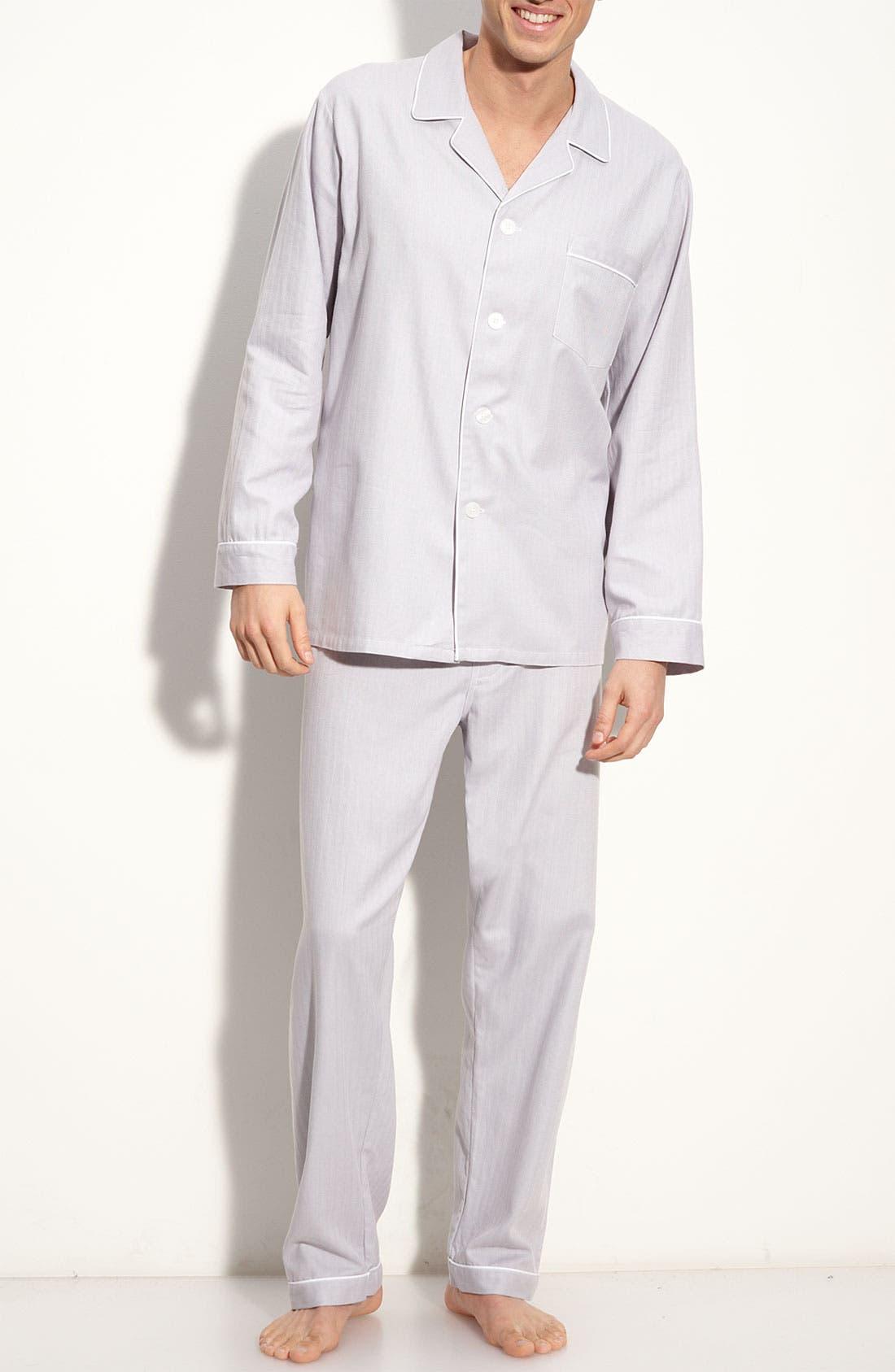 Herringbone Cotton Pajamas, Main, color, 025