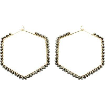 Panacea Grey Crystal Hexagonal Hoop Earrings