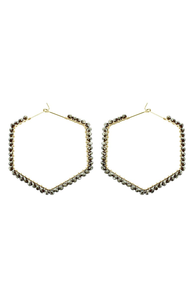 PANACEA Grey Crystal Hexagonal Hoop Earrings, Main, color, 030