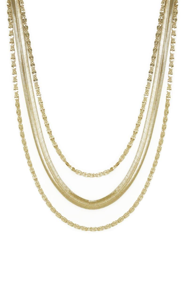 ETTIKA Layered Chain Necklace, Main, color, GOLD