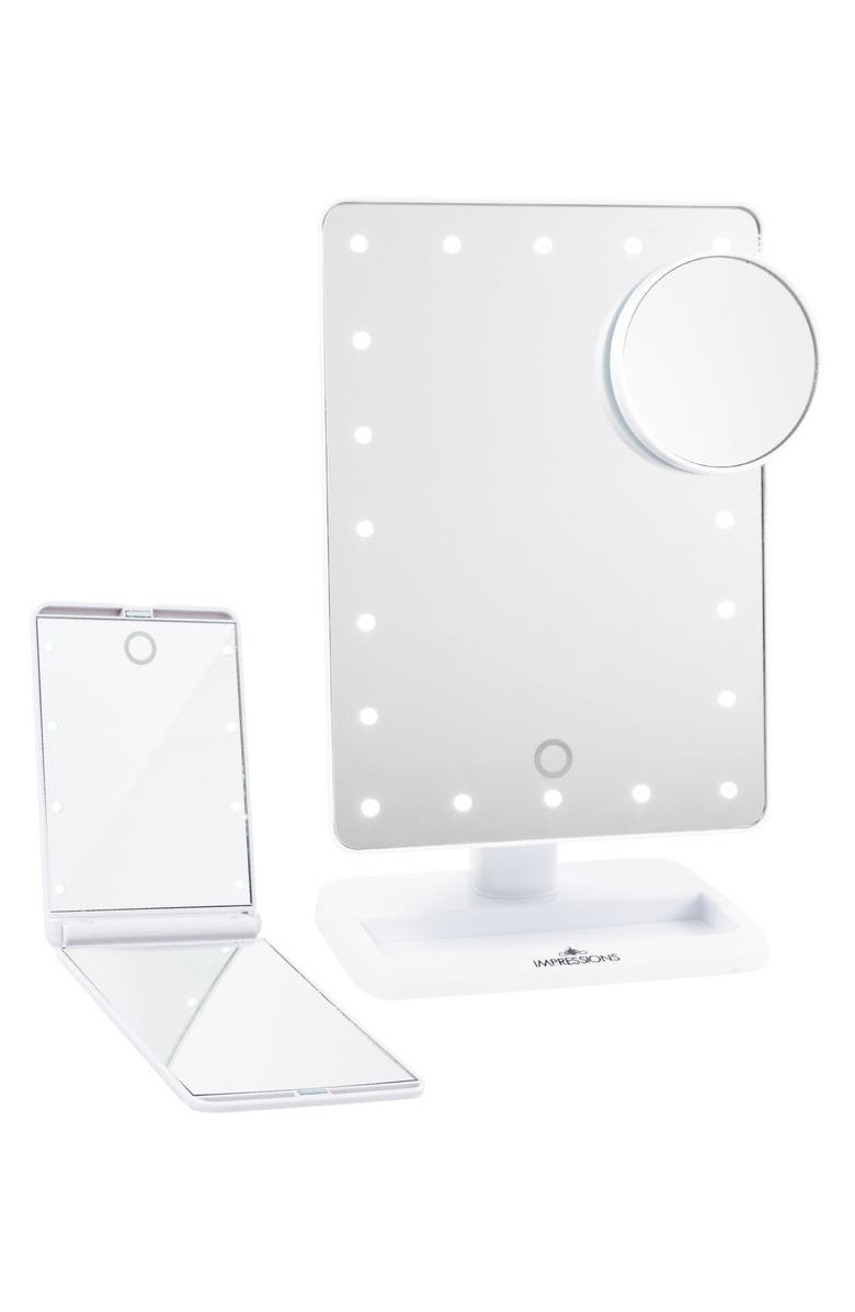 IMPRESSIONS VANITY CO. Touch XL Dimmable LED Makeup Mirror with Removable 5x Mirror & Compact Mirror, Main, color, 100