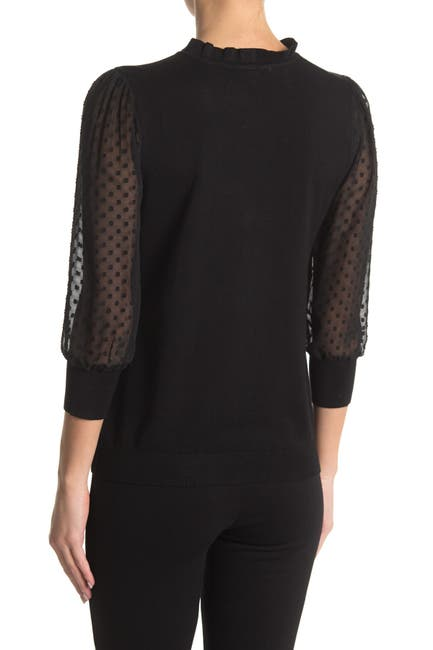 Image of Adrianna Papell Ruffle Neck Lace Sleeve Sweater
