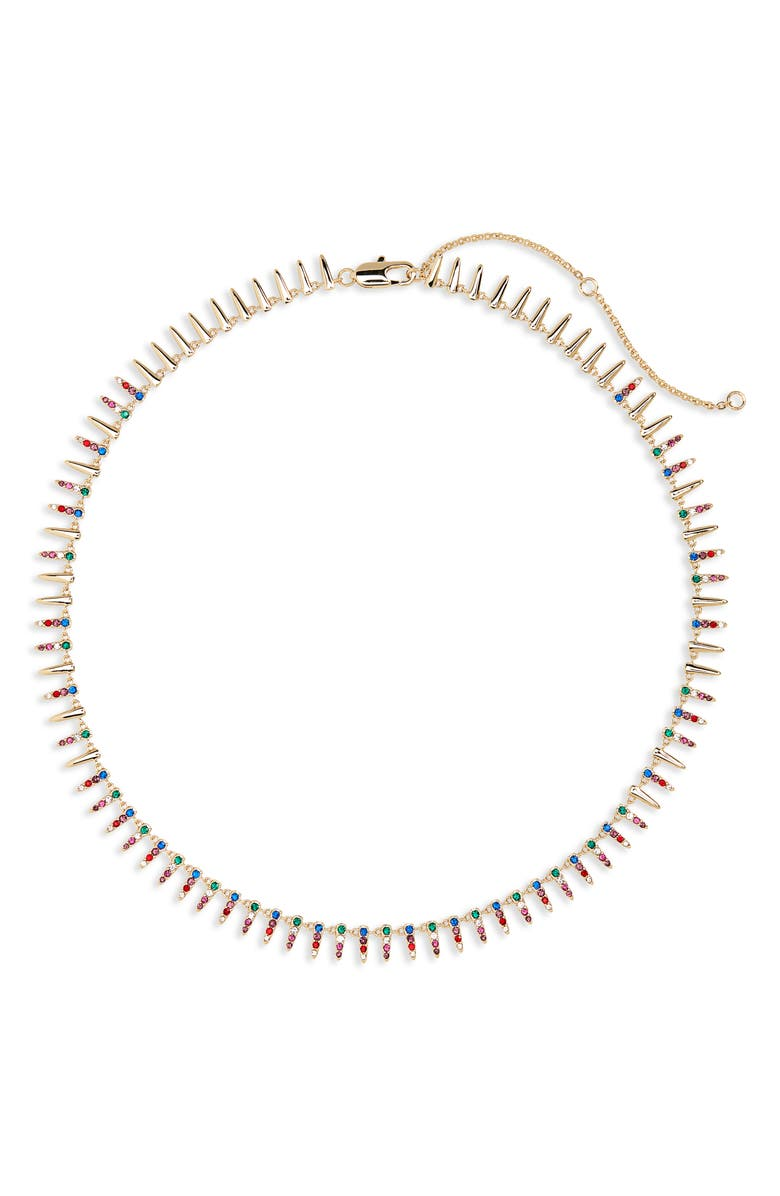 NORDSTROM Pavé Modern Spike Necklace, Main, color, RAINBOW- GOLD