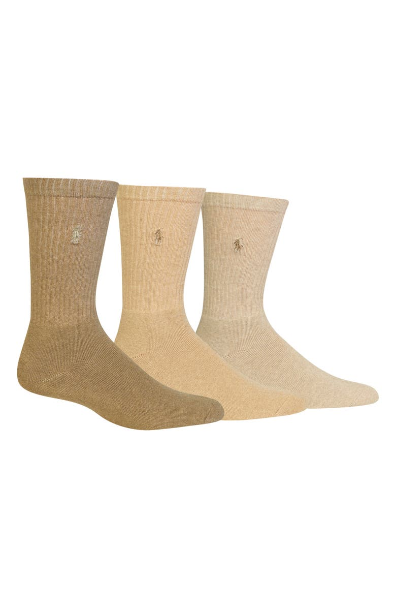 POLO RALPH LAUREN 3-Pack Crew Socks, Main, color, TAUPE/ OYSTER/ BEIGE