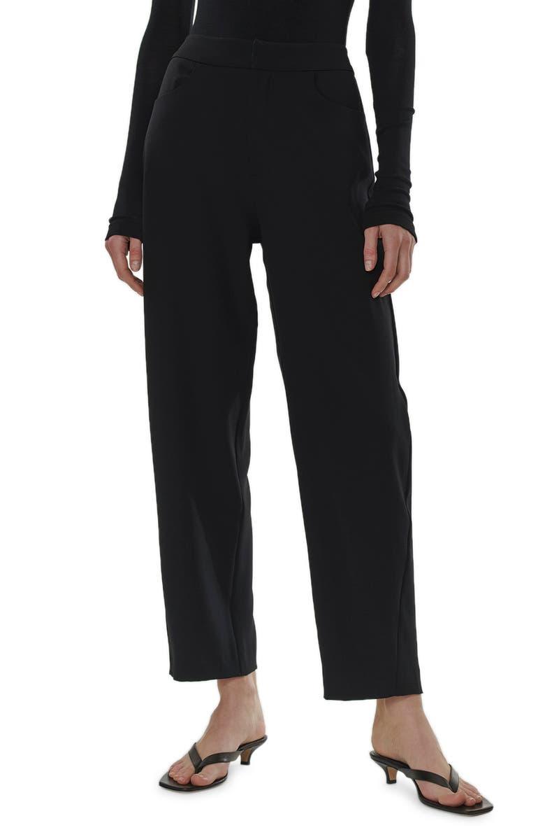 TOTÊME Novara Cotton Blend Crop Trousers, Main, color, BLACK STRUCTURE