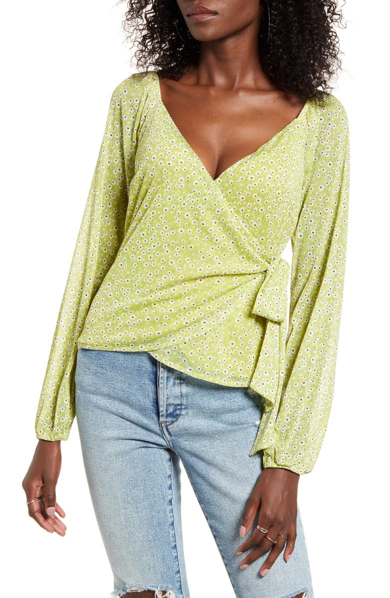 4SI3NNA Floral Print Wrap Top, Main, color, LIME