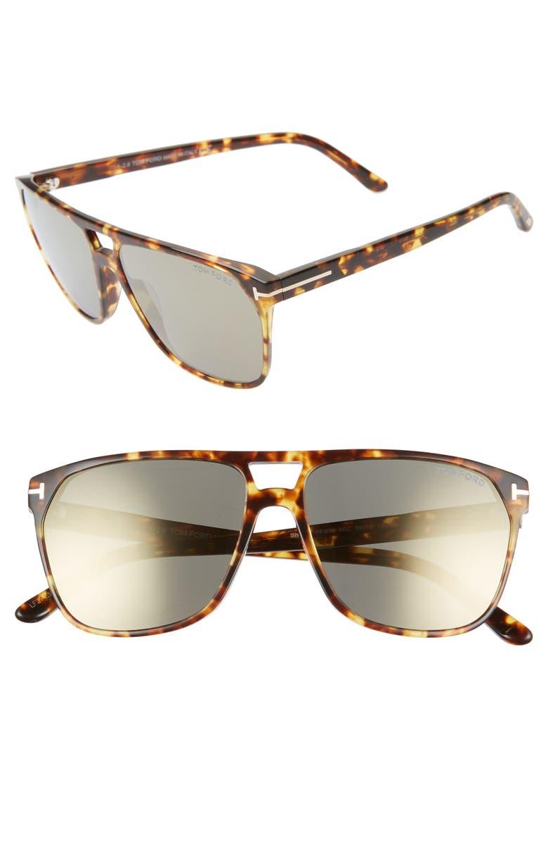 TOM FORD Shelton 59mm Sunglasses, Main, color, 200