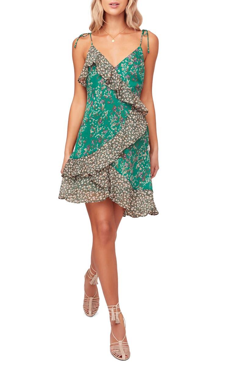 ASTR THE LABEL Mix Print Tie Shoulder Sundress, Main, color, GREEN FLORAL MIX