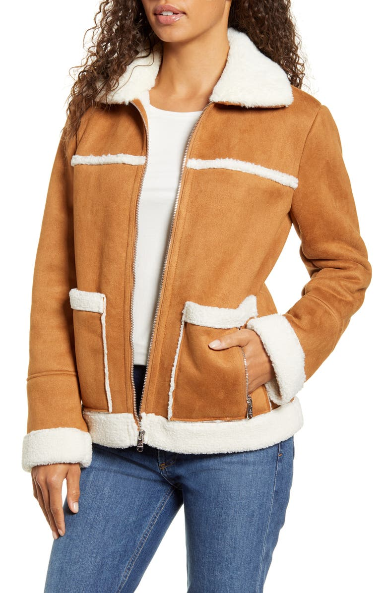 Water Resistant Faux Shearling Trim Jacket by Sam Edelman