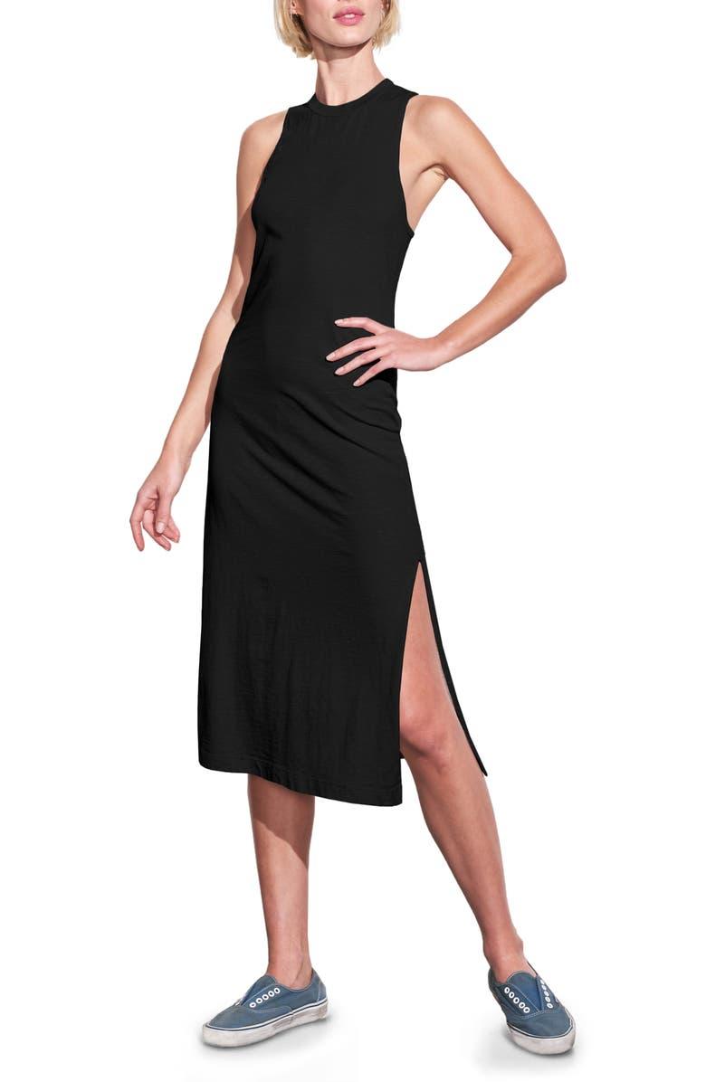 SUNDRY Twist Back Sleeveless Midi Dress, Main, color, BLACK