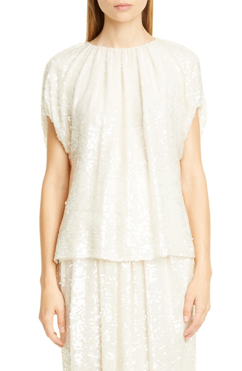 Adam Lippes Sequin Embroidered Top