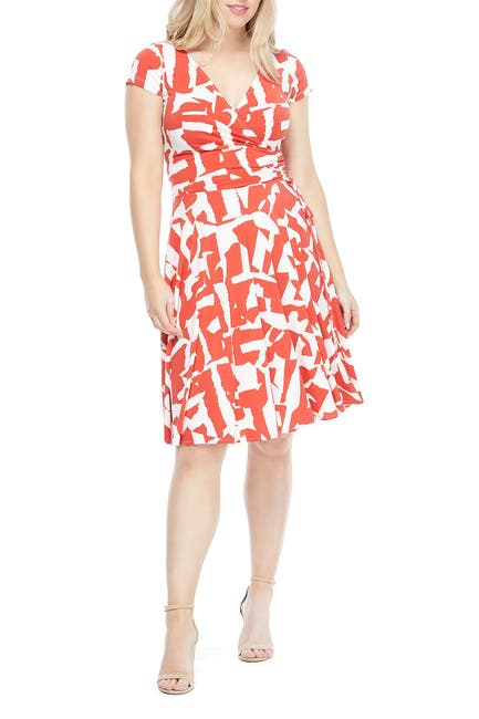 Image of Maggy London Printed Surplice Neck Wrap Dress