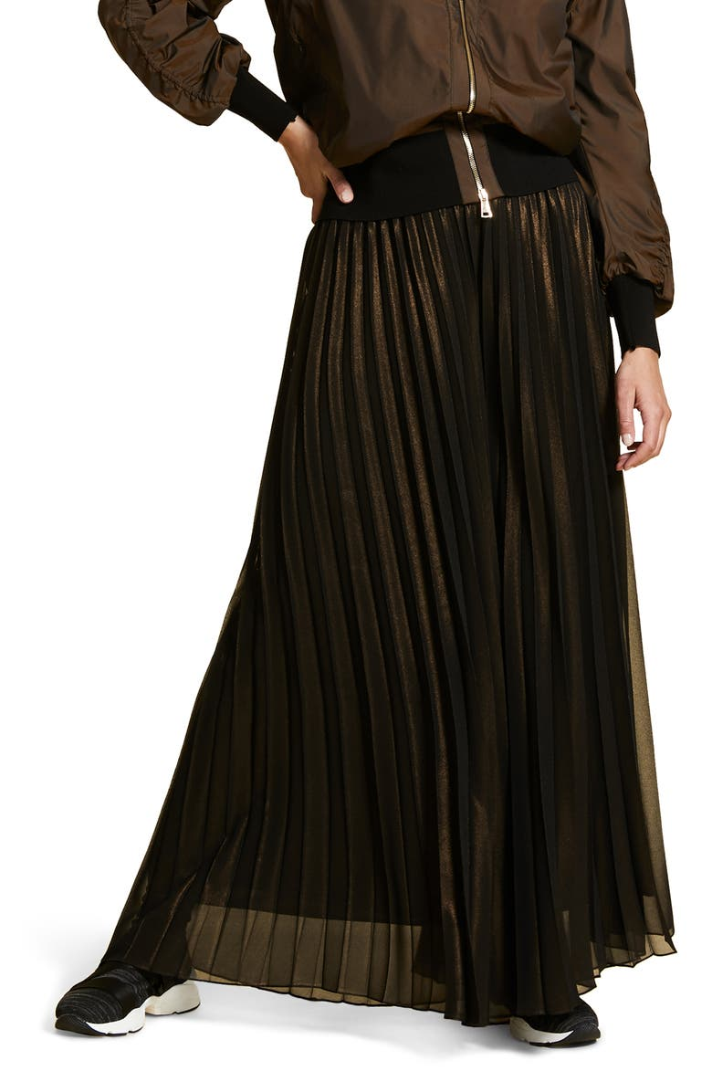 MARINA RINALDI Pleated Wide Leg Georgette Pants, Main, color, DARK BROWN