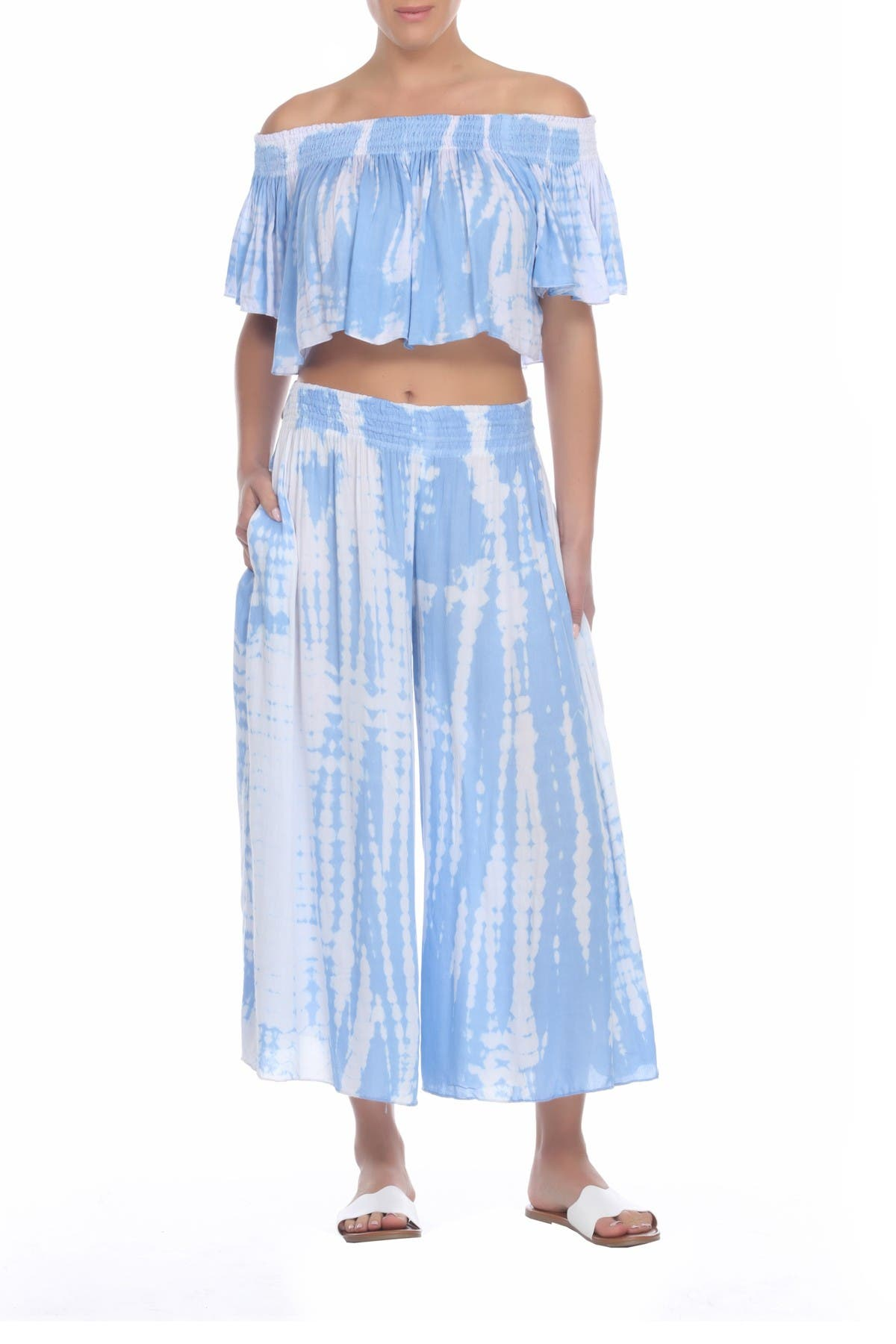 Image of BOHO ME Tie Dye Smocked Cover-Up Pants