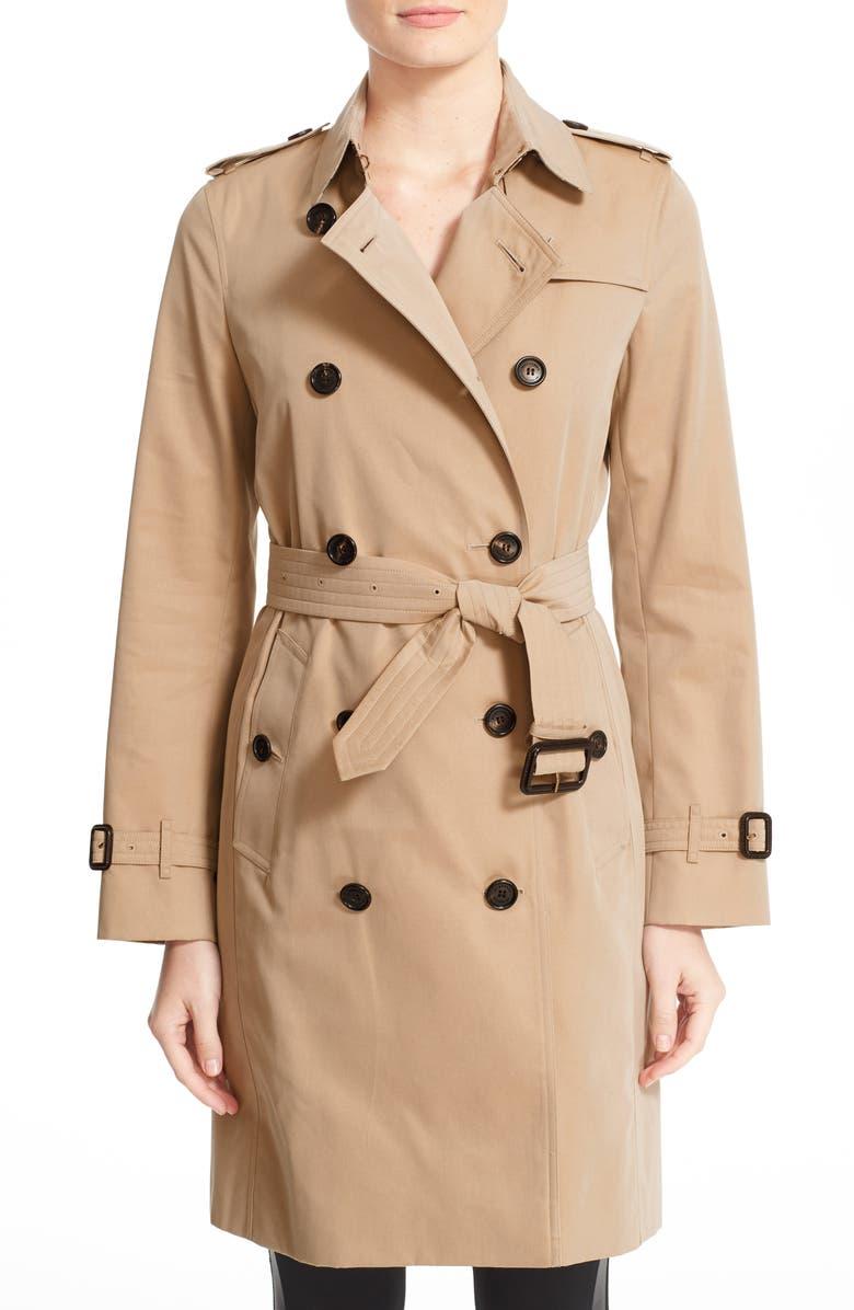 BURBERRY Kensington Long Trench Coat, Main, color, 260