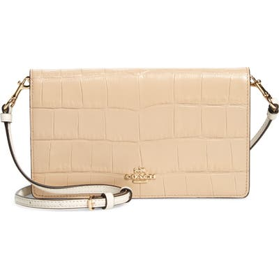 Coach Hayden Croc Embossed Leather Convertible Crossbody Bag - Beige