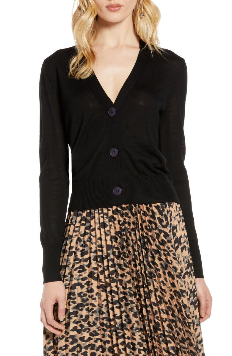 HALOGEN<SUP>®</SUP> V-Neck Merino Wool Jersey Cardigan, Main, color, 001