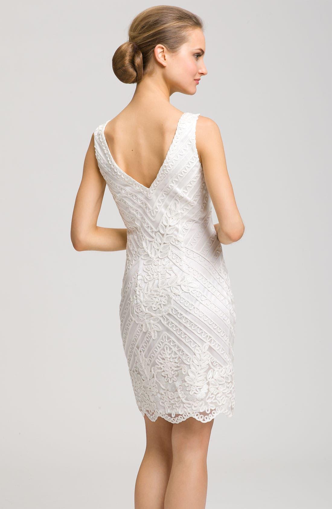 ,                             Double V-Neck Embroidered Sheath Dress,                             Alternate thumbnail 3, color,                             100