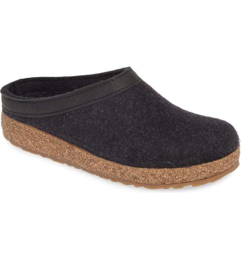 HAFLINGER Grizzly Clog Slipper, Main, color, CHARCOAL