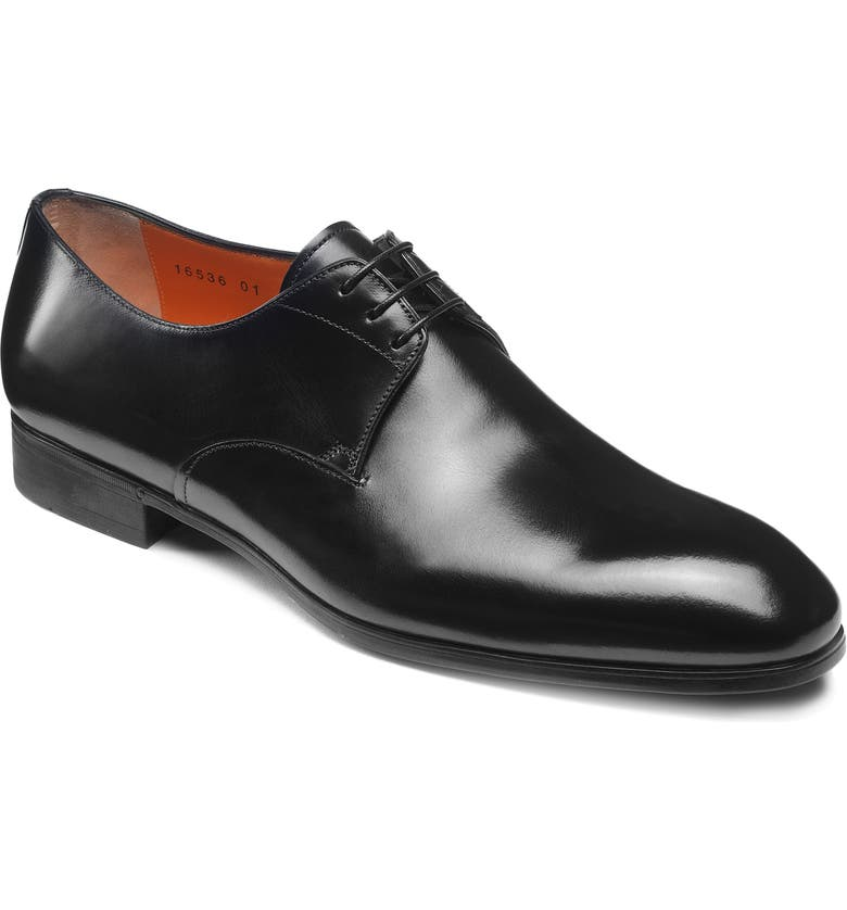 SANTONI Induct Plain Toe Derby, Main, color, BLACK