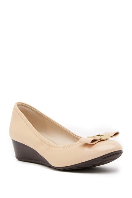 Image of Cole Haan Emory Bow Leather Wedge Pump