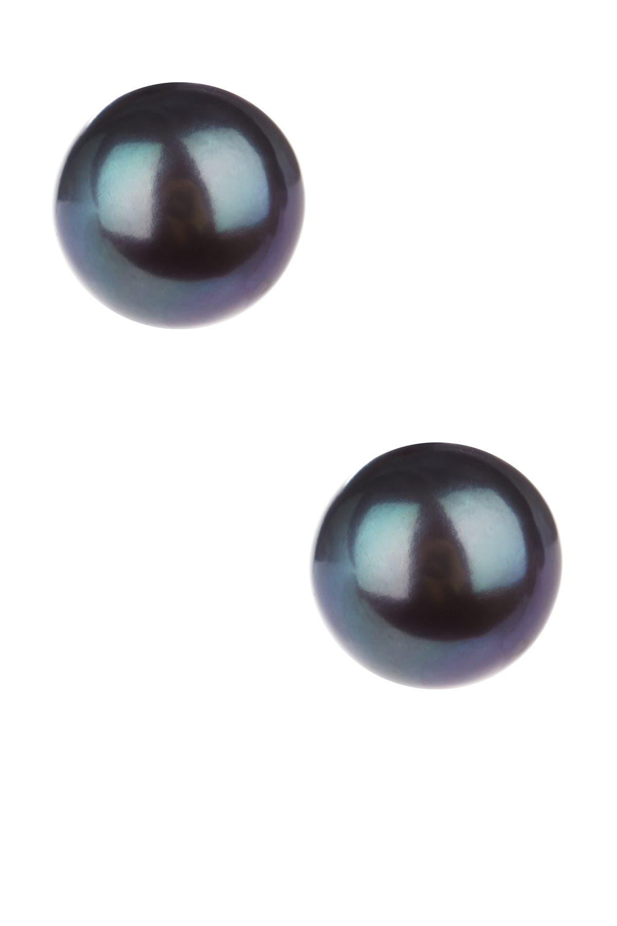 Image of Splendid Pearls 14K Yellow Gold 9-10mm Black Freshwater Pearl Stud Earrings
