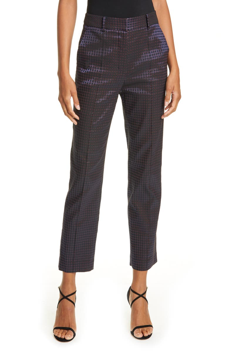 DVF Linda Dot Jacquard Trousers, Main, color, BLUE MULTI