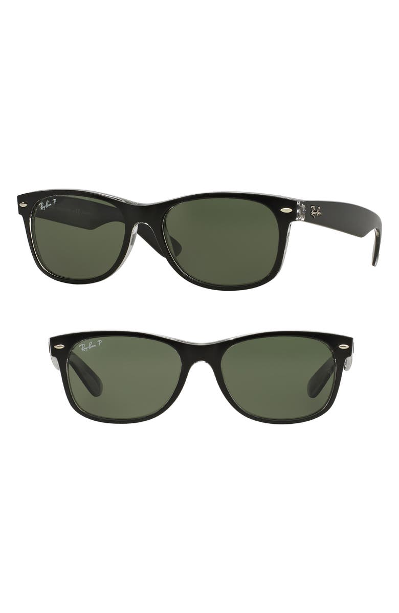 RAY-BAN Standard New Wayfarer 55mm Polarized Sunglasses, Main, color, 010
