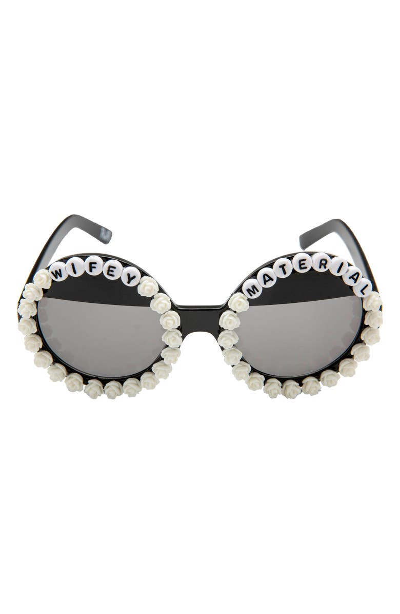 RAD + REFINED Wifey Material Flower Round Sunglasses, Main, color, BLACK/ WHITE