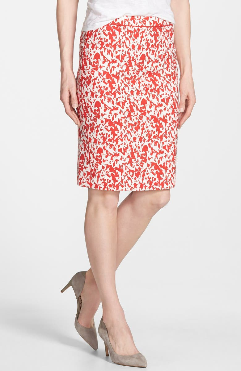 HALOGEN<SUP>®</SUP> Piped Print Pencil Skirt, Main, color, 610