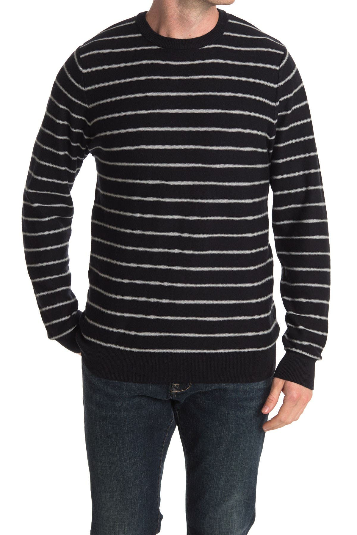Image of WALLIN & BROS Cotton Cashmere Striped Crew Sweater