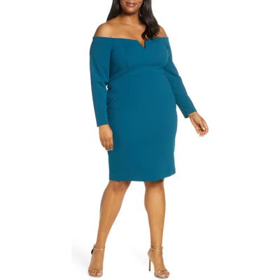 Plus Size Vince Camuto Long Sleeve Off The Shoulder Sheath Dress, Blue/green