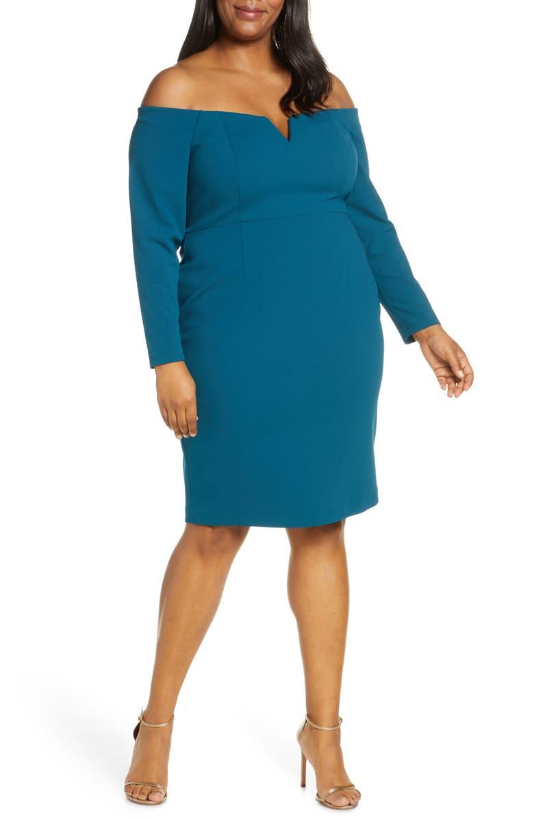 VINCE CAMUTO Long Sleeve Off the Shoulder Sheath Dress, Main, color, TEAL
