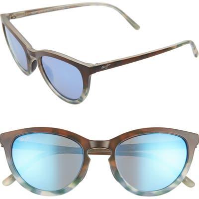 Maui Jim Star Gazing 50Mm Polarizedplus2 Cat Eye Sunglasses - Matte Brown/ Blue Tokyo